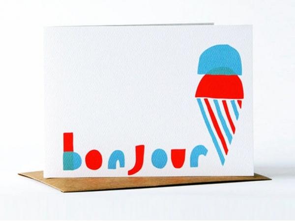"1 carte glace ""bonjour"" + enveloppe Yellow Owl Workshop - 1"