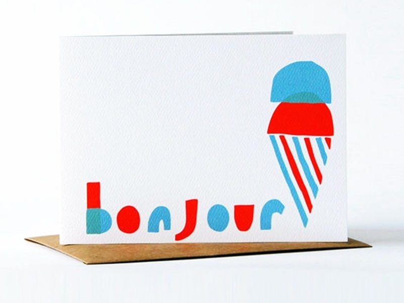 """1 card - """"Bonjour"""", with ice-cream + envelope"""
