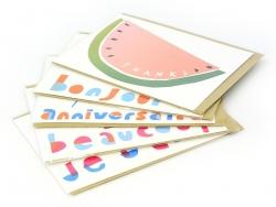 """1 Karte mit der Aufschrift """"Thanks"""" und einer Wassermelone + Umschlag"""