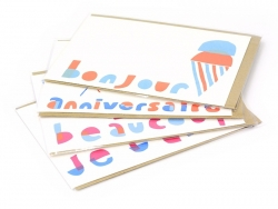 "1 card - ""Bonjour"", with ice-cream + envelope"
