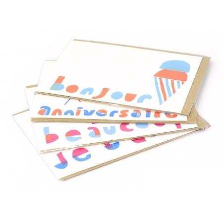"1 carte glace ""bonjour"" + enveloppe Yellow Owl Workshop - 2"