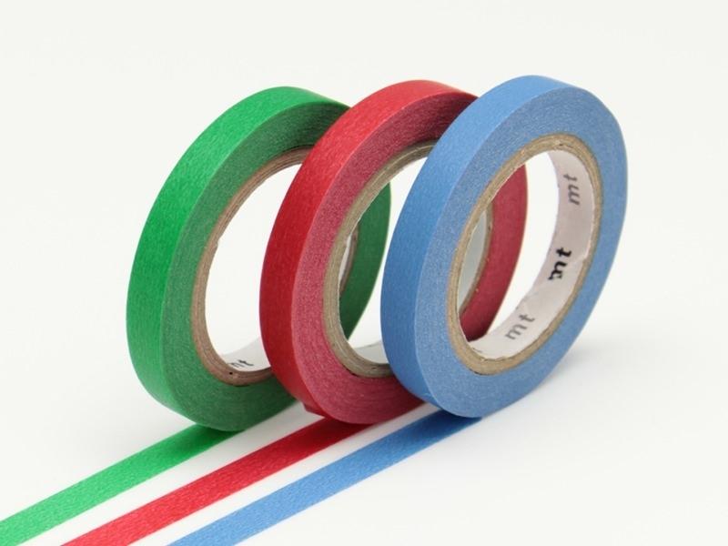 Masking tape trio slim - vert-rouge-bleu Masking Tape - 1