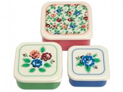 Set de 3 Boîtes hermétiques / lunchbox - fleuri vintage