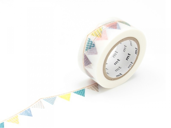 Masking tape with a pattern (20mm) - Multi-coloured pennants Masking Tape - 1
