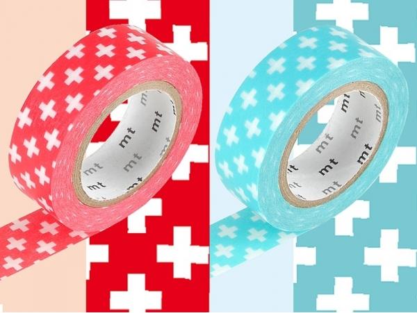 set 2 Masking tape motif croix - rouge et bleu clair Masking Tape - 1