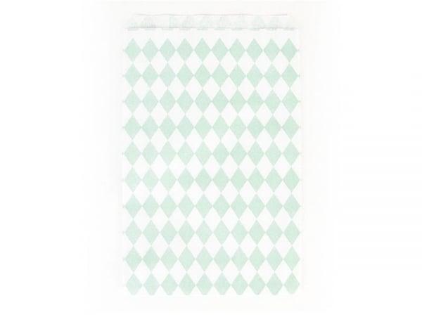 10 pochettes cadeaux - losanges verts aqua