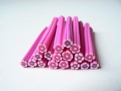 Flower cane - pink with a green centre
