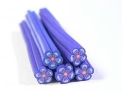 Gänseblümchencane - blau mit Streifen