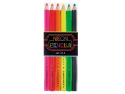6 coloured pencils with wide leads - neon colours