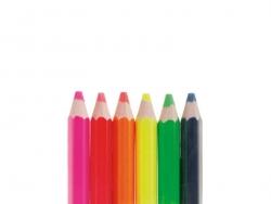 6 Buntstifte mit breiter Mine - Neonfarben