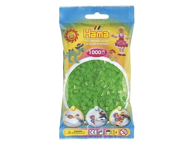 Bag of 1,000 HAMA MIDI beads - translucent neon green Hama - 1