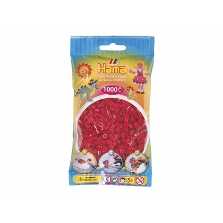 Bag of 1,000 HAMA MIDI beads - raspberry red Hama - 1