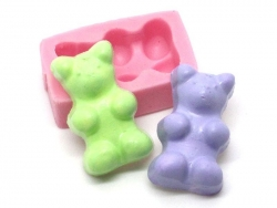 Rosafarbene Gummibärchenform aus Silikon