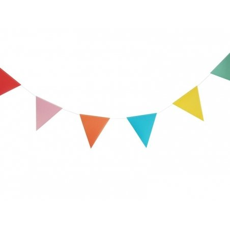 Multi-coloured pennant garland
