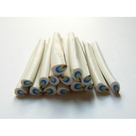 Petal cane - white, blue, and yellow
