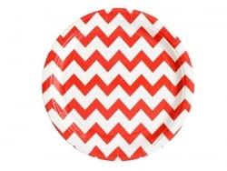Acheter 8 assiettes en papier - zigzags rouges - 4,50€ en ligne sur La Petite Epicerie - 100% Loisirs créatifs