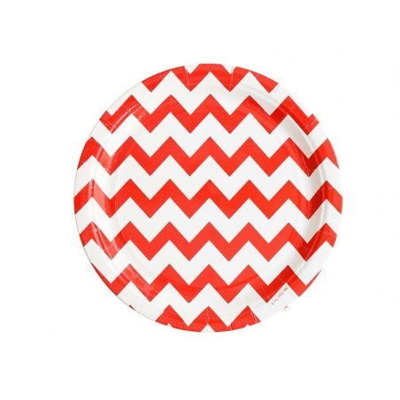 8 paper plates - red zigzag pattern