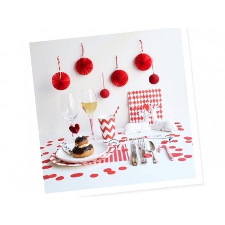 8 assiettes en papier - zigzags rouges