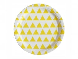 8 assiettes en papier - triangles jaunes