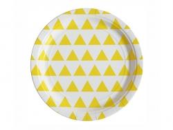 8 assiettes en papier - triangles jaunes