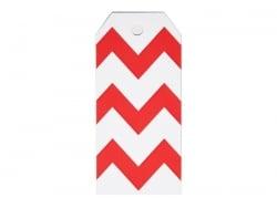12 étiquettes cadeaux - Zigzags rouges My little day - 1