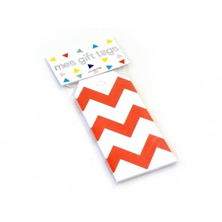 12 étiquettes cadeaux - Zigzags rouges