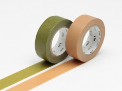 Set of 2 rolls of masking tape - olive green / caramel Masking Tape - 1