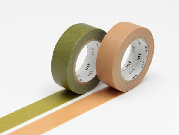 set 2 Masking tape unis - vert olive / caramel Masking Tape - 1