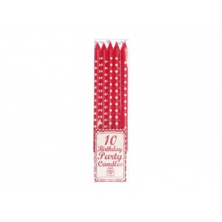 10 red candles with white polka dots - 11 cm