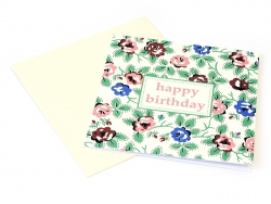 "1 birthday card - ""Vintage flowers"" + envelope"