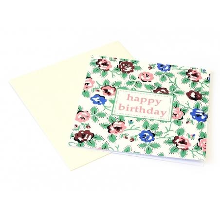 1 carte anniversaire Fleurs vintage + enveloppe