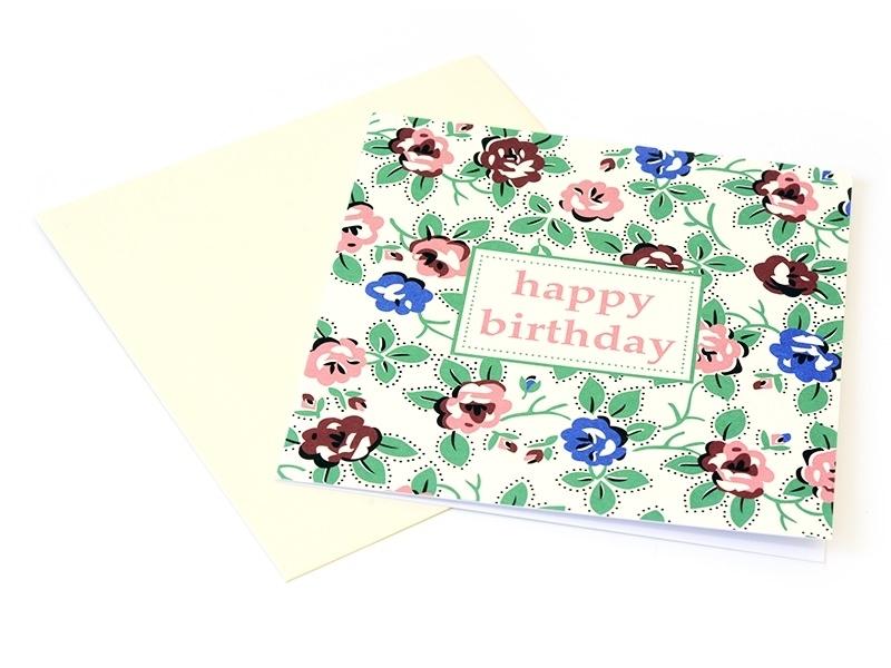 """1 birthday card - """"Vintage flowers"""" + envelope"""