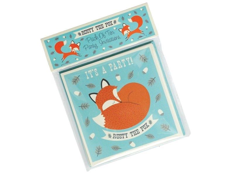 "10 invitations ""Rusty the Fox"" + envelopes"