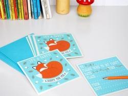 """10 Einladungen mit """"Rusty the Fox"""" bedruckt + Briefumschläge"""