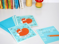 10 invitations Rusty the fox + enveloppes