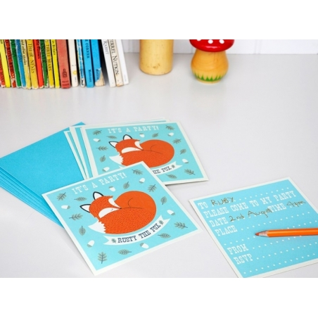 10 invitations Rusty the fox + enveloppes