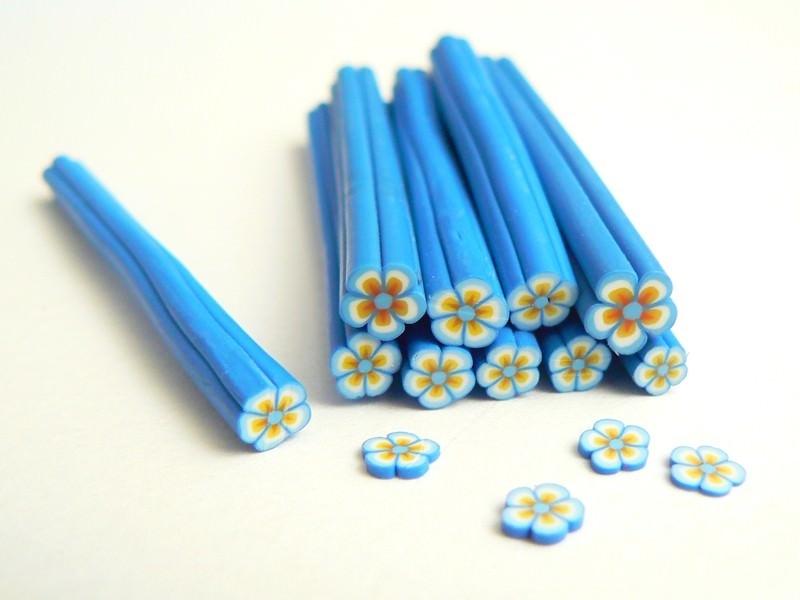 Cane paquerette bleue et orangée  - 1