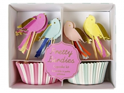 Set of 24 cupcake cases and 24 striped toppers - Birds