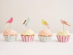 Set de 24 caissettes à cupcakes rayées et 24 toppers Oiseaux