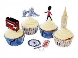 "Set ""London"" de 24 caissettes à cupcakes 6cm et 12 toppers"