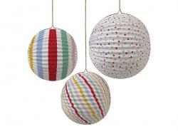 3 boules en papier - multicolore