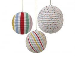 3 paper lanterns - different colours