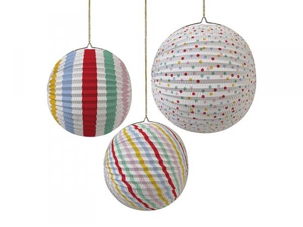3 paper lanterns - different colours