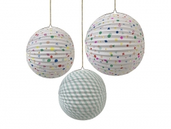 3 paper lanterns - multi-coloured / pastel-coloured