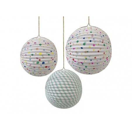 3 paper lanterns - multi-coloured / pastel-coloured