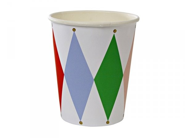 8 paper cups - Harlequin pattern