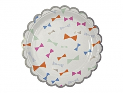8 small paper plates - bows in different colours