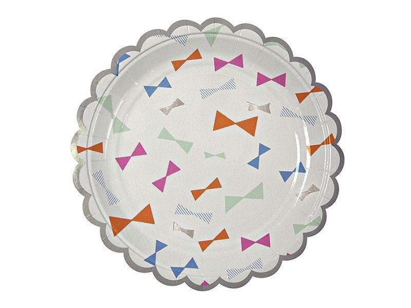 8 petites assiettes en papier - Noeuds colorés