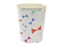 8 paper cups - bows in different colours