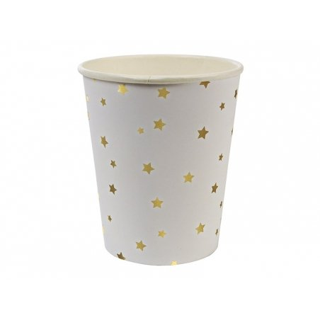 8 gobelets en papier - Etoiles dorées